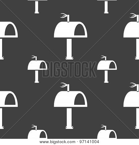 Mailbox Icon Sign. Seamless Pattern On A Gray Background. Vector