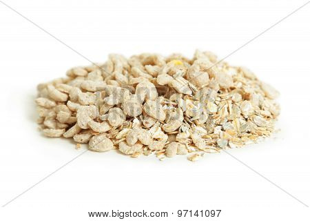 Muesli isolated on a white background, close up