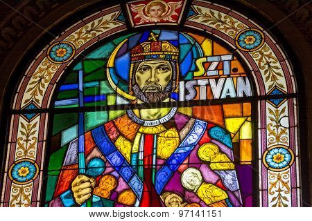 Stained Glass Portrait Of St. Istvan,Budapest, Hungary