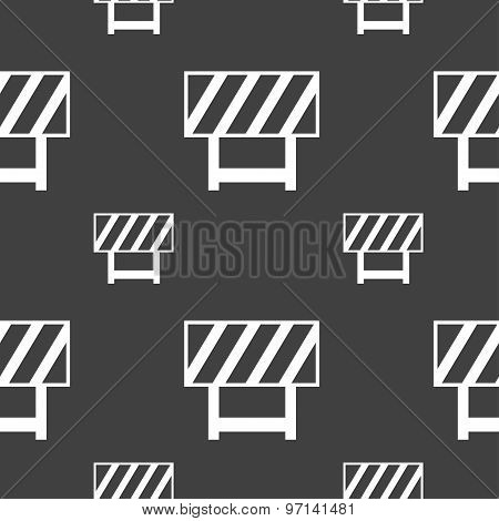 Road Barrier Icon Sign. Seamless Pattern On A Gray Background. Vector