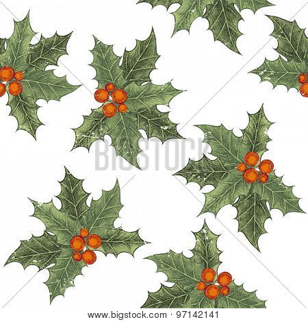 Hand drawn holly berry seamless pattern in vintage style