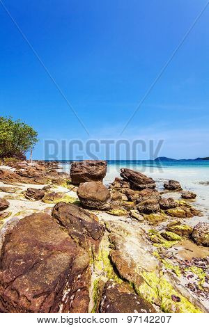 Beautiful tropical beach with  sea view, clean water & blue sky at Phu Quoc island  in Vietnam.
