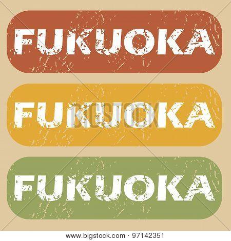 Vintage Fukuoka stamp set