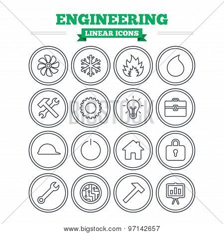 Engineering linear icons set. Thin outline signs. Vector