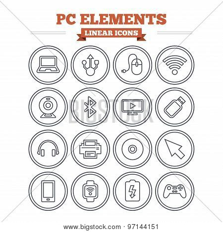 Computer elements linear icons set. Thin outline signs. Vector