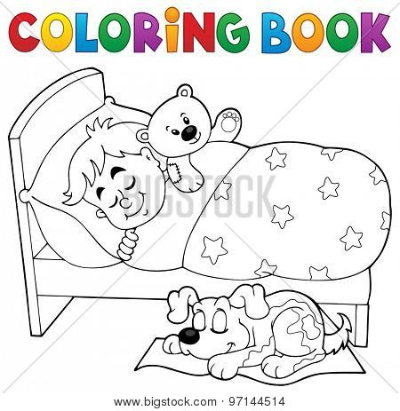 Coloring book sleeping child theme 2 - eps10 vector illustration.