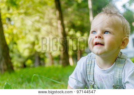 cute baby boy, child, on natural green background