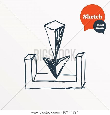 Hand drawn download icon. Sketched arrow. Upload