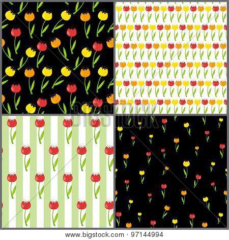 Floral Seamless Pattern Background Set Vector Illustration