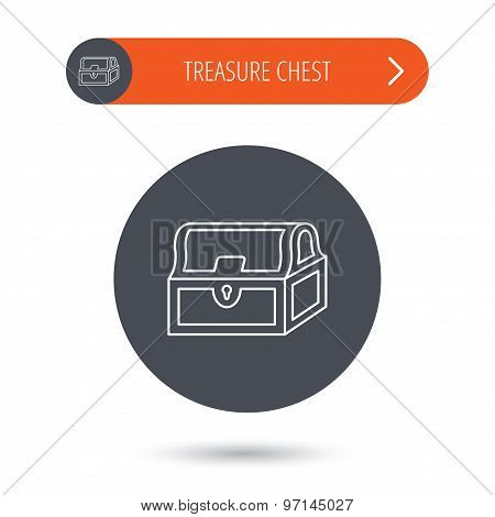 Treasure chest icon. Piratic treasury sign.