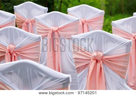 Decorated Chairs For Guests At A Wedding In The Garden.