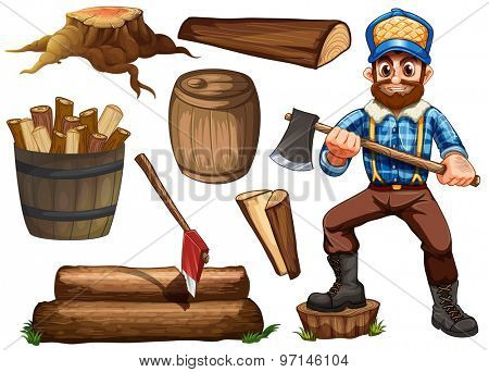 Lumber jack holding axe and set of fire wood