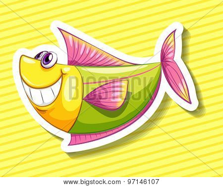 Happy fish on yellow background