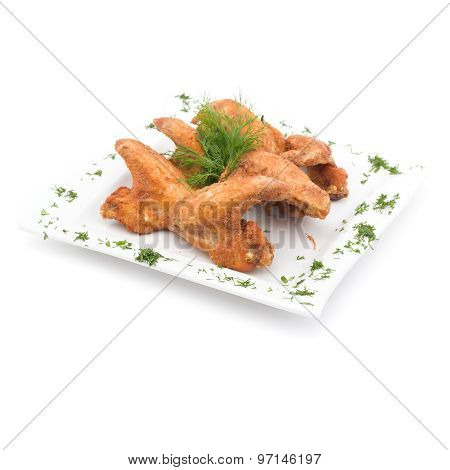 Fried Chicken Wings on white