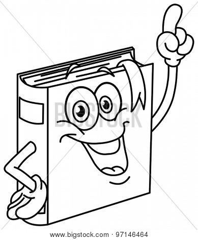 Outlined book cartoon pointing with his finger. Vector illustration coloring page.