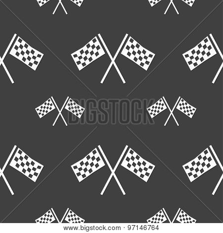 Race Flag Finish Icon Sign. Seamless Pattern On A Gray Background. Vector