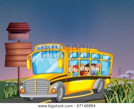 Boys and girls riding on school bus