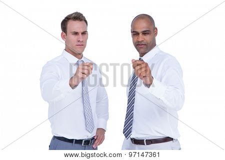 Businessmen pointing something with their hands on white background