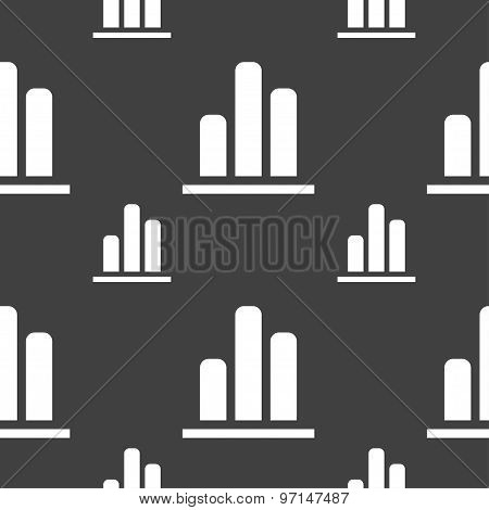 Growth And Development Concept. Graph Of Rate Icon Sign. Seamless Pattern On A Gray Background. Vect