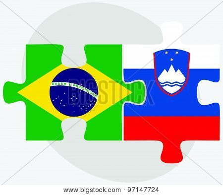 Brazil And Slovenia Flags