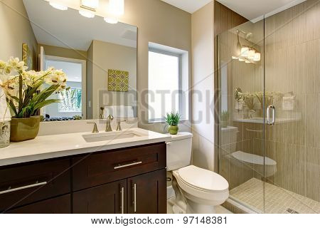 Nice Bathroom With Glass Shower.