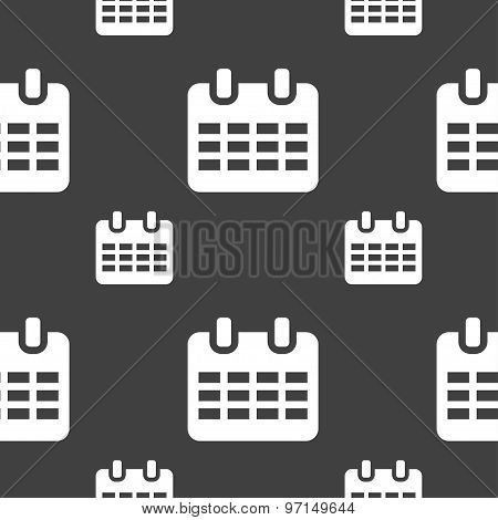 Calendar, Date Or Event Reminder  Icon Sign. Seamless Pattern On A Gray Background. Vector