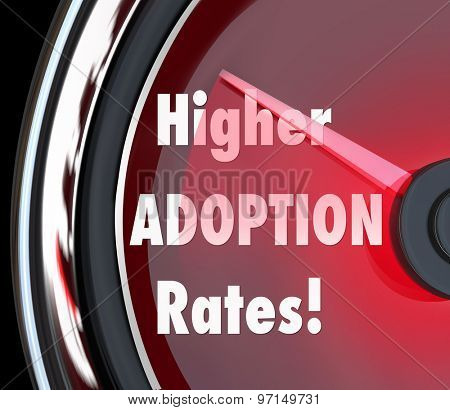 Higher Adoption Rates speedometer measuring rising acceptance level of customers and increasing sales or success rating