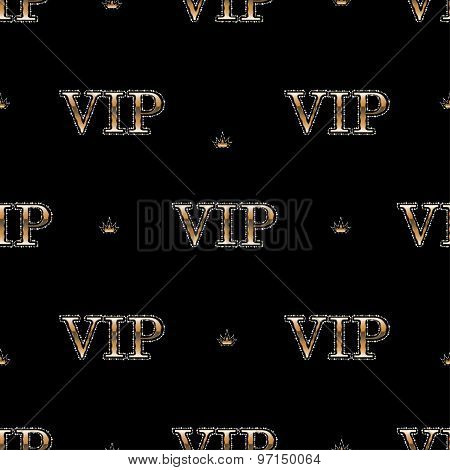 seamless pattern with golden text VIP