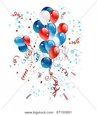 Holiday illustration. Blue, red and white balloons for festive advertising, leaflet, cards, invitation and so on.