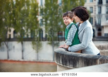 Mother and son having fun during summer vacation