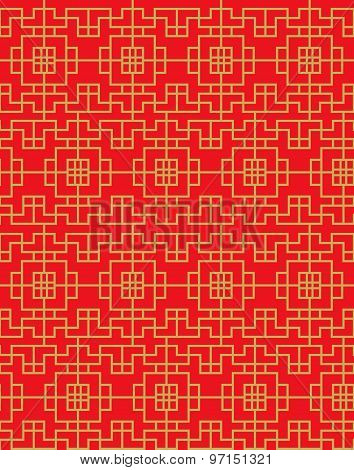 Seamless vintage Chinese window golden square geometry check pattern background.
