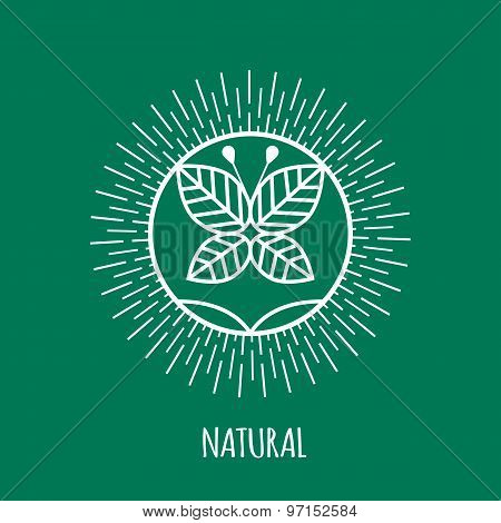 Outline natural monogram or logo. Abstract organic, ecology and bio design element or badge.