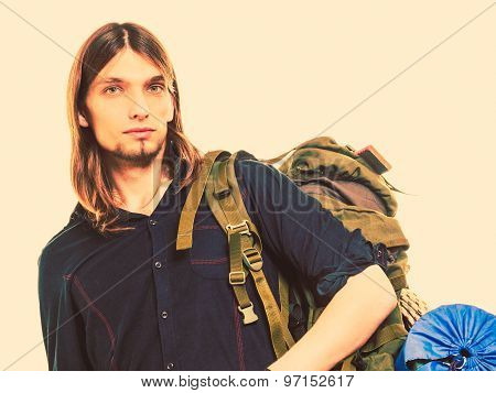 Man Tourist Backpacker Portrait. Summer Travel.