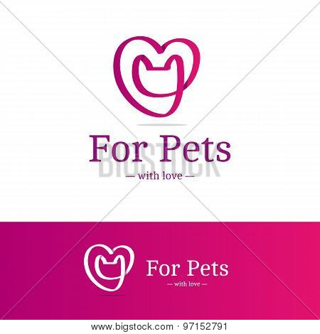 Vector pink ribbon sign. Cat head with heart logotype. Trendy logo in overlapping technique