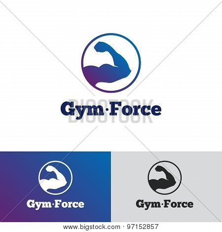 Vector minimalistic gradient gym logo. Fitness badge logotype