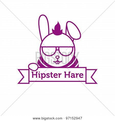 Vector hipster hare in sunglasses outline logotype