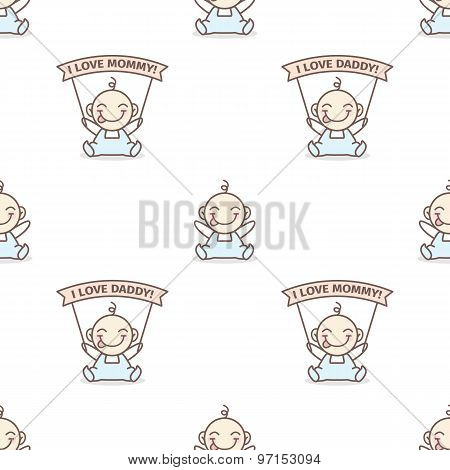 Vector baby boy with love Mommy and Daddy posters seamless pattern