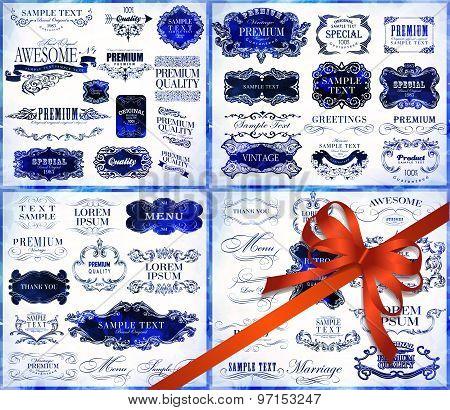 Big set of calligraphic elements for design