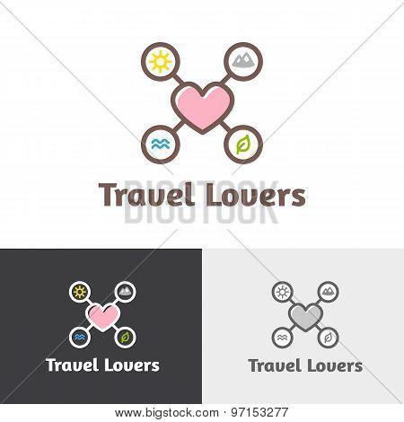 Vector outline travel agency logotype