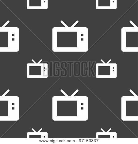 Retro Tv Mode Icon Sign. Seamless Pattern On A Gray Background. Vector