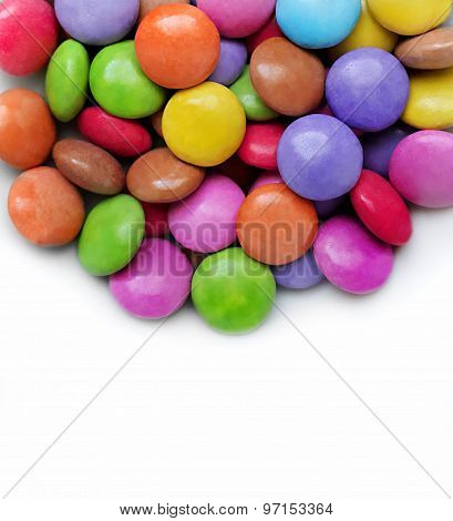 White Background With Bright Color Candy