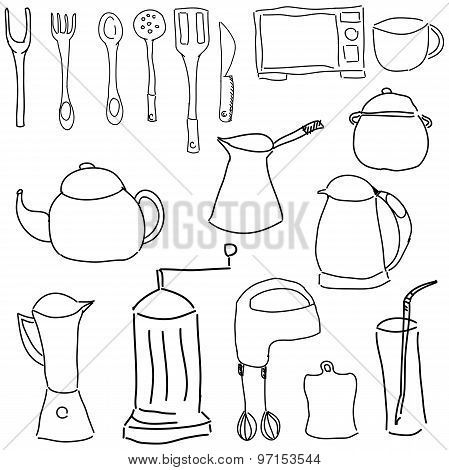 Drawn picture with kitchen stuff