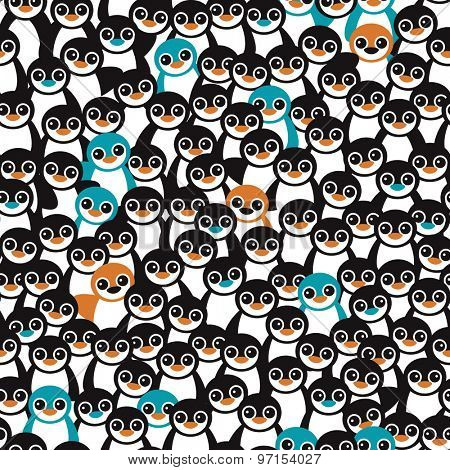 Seamless little retro black and white orange and blue penguins adorable kids illustration background pattern in vector