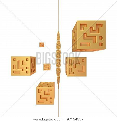 Abstract Golden Cubes 3D Render