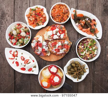 Tapas, antipasto or meze, traditional mediterranean cold buffet food