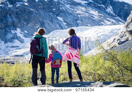 Girls Looking At The Glacier