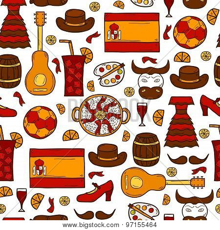 Seamless background with cartoon drawn objects on Spain theme: flag, bull, ball, flamenco, guitar, j