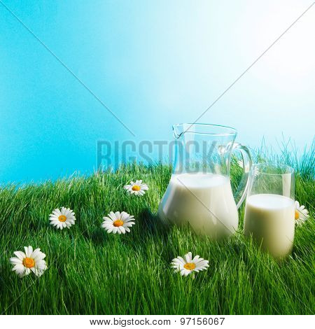 Milk jug and glass on fresh green grass with chamomiles
