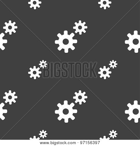 Cog Settings,  Cogwheel Gear Mechanism Icon Sign. Seamless Pattern On A Gray Background. Vector