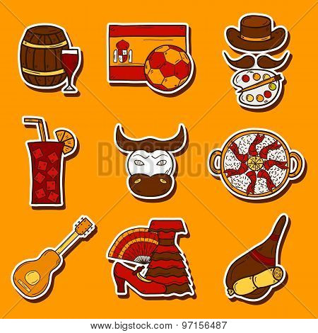 Set of cartoon drawn stickers on Spain theme: flag, bull, ball, flamenco, guitar, jamon. Travel euro